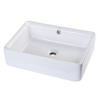 Eago BA131 White Porcelain Rectangular Above-mount Basin Vessel Sink