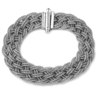 14k Italian White Gold Mesh Stretch Bracelet