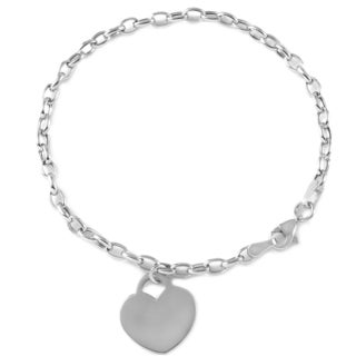 14k White Gold Flat Heart Rolo Charm Bracelet