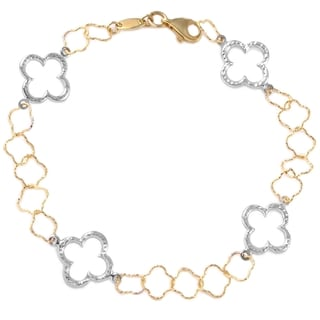 14k White and Yellow Gold Link Bracelet