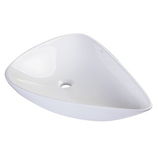 Eago BA138 White Ceramic Tear Drop Vessel Sink