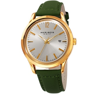 Link to Akribos XXIV Women's Quartz Sunray Green Leather Strap Watch Similar Items in Women's Watches