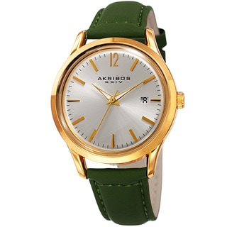 Akribos XXIV Women's Quartz Sunray Green Leather Strap Watch