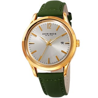 Akribos XXIV Women's Quartz Sunray Green Leather Strap Watch with FREE GIFT (Option: Green)|https://ak1.ostkcdn.com/images/products/11897358/P18791765.jpg?impolicy=medium