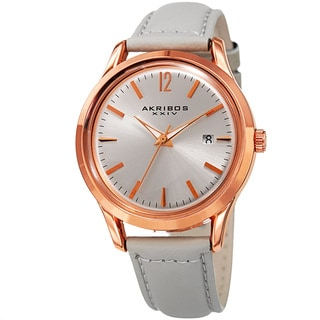 Akribos XXIV Women's Quartz Sunray Gray Leather Strap Watch