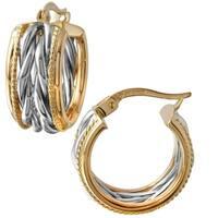 14k Two-tone Gold Hoop Earrings