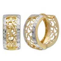 14k Two-Tone Heart Design Earrings