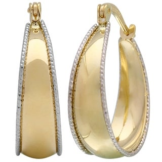 14k Two-Tone Gold High Polished Hoop Earrings