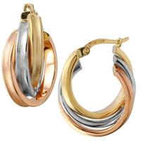 14k Tri Color Gold Hoop Earrings