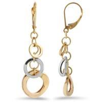 14k Two-tone Gold Dangle Earrings