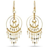 14k Yellow Gold Italian Chandelier Dangle Earrings