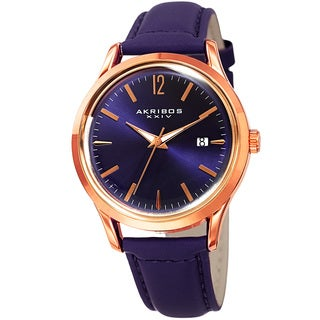 Akribos XXIV Women's Quartz Sunray Purple Leather Strap Watch