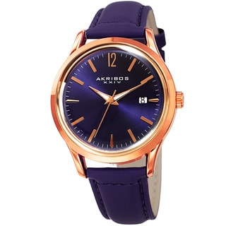 Akribos XXIV Women's Quartz Sunray Purple Leather Strap Watch