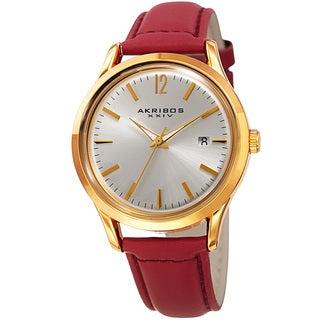 Akribos XXIV Women's Quartz Sunray Watch with Leather Strap
