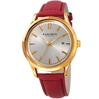 Akribos XXIV Women's Quartz Sunray Watch with Leather Strap (Option: Red)