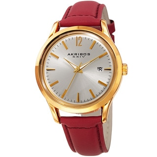 Akribos XXIV Women's Quartz Sunray Red Leather Strap Watch