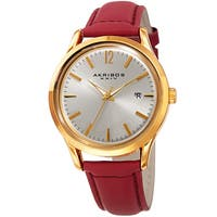 Akribos XXIV Women's Quartz Sunray Watch with Leather Strap with FREE Bangle