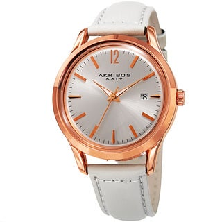 Akribos XXIV Women's Quartz Sunray White Leather Strap Watch