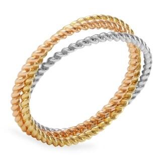 14k Tricolor Diamond Cut Trio Ring (Size 7)