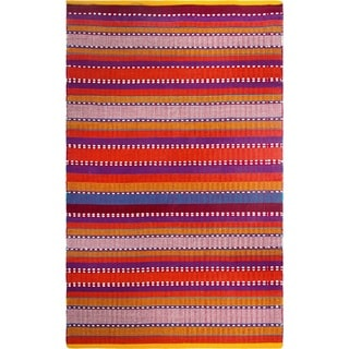 Fab Habitat Recycled Cotton Sarva Multi Red Rug