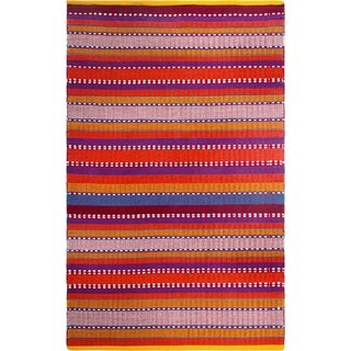 Handmade Fab Habitat Recycled Cotton Sarva Multi Red Rug (India)