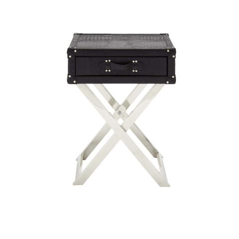 Stainless Steel/Leather Single Drawer Folding Table