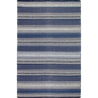Handmade Fab Habitat Recycled Cotton Ethos Blue Rug (India)