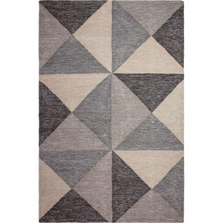 Fab Habitat Recycled Cotton Coonoor Multi Grey and Black Rug (3' x 5')