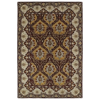 Hand-Tufted Perry Panel Wine Wool Rug (8'0 x 10'0)