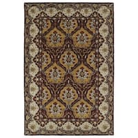 Hand-Tufted Perry Panel Wine Wool Rug (8' x 10')