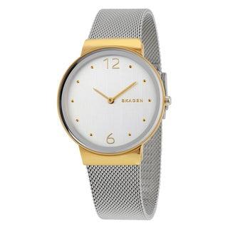 Skagen Women's Freja Silvertone Dial Two-tone Mesh Bracelet Watch
