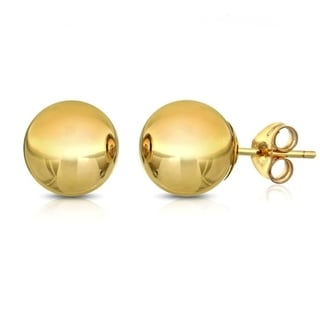 Solid 14k Yellow Gold Ball Studs