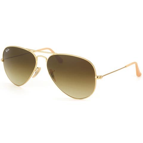 346dad7435 Ray-Ban RB3025 112 85 Aviator Gradient Gold Frame Brown Gradient 58mm Lens  Sunglasses