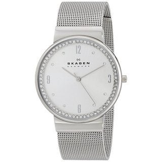 Skagen Women's Ancher Silver Analog Dial Stainless Steel Mesh Bracelet Watch
