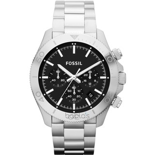 Fossil Men's Retro Traveler Black/Silvertone Stainless Steel Chronograph Watch