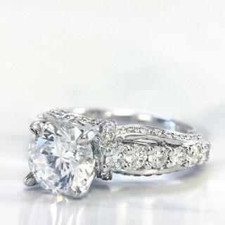 Lihara and Co. 18K White Gold 0.74ct TDW Semi-Mount Diamond Engagement Ring (G-H, VS1-VS2)