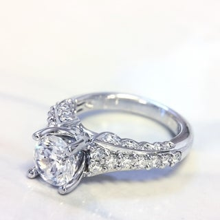 Lihara and Co. 18K White Gold 0.63ct TDW Semi-Mount Diamond Engagement Ring (G-H, VS1-VS2)