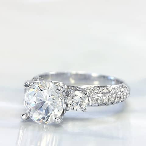 Lihara and Co. 18K White Gold 3/4ct TDW Semi-Mount Diamond Engagement Ring - White G-H