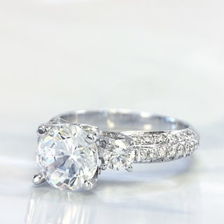 Lihara and Co. 18K White Gold 0.72ct TDW Semi-Mount Diamond Engagement Ring (G-H, VS1-VS2)