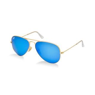 Ray-Ban RB3025 112/17 Aviator Flash Lenses Gold Frame Blue Flash 55mm Lens Sunglasses