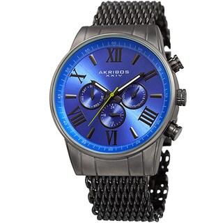 Akribos Men's Swiss Quartz Multifunction Gray Blue Mesh Bracelet Watch