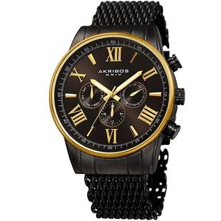 Akribos Men's Swiss Quartz Multifunction Black Gold-tone Mesh Bracelet Watch
