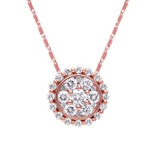 Beverly Hills Charm 14K Pink Gold 3/4ct. TDW Halo Diamond Round Necklace (H-I, SI2-I1)