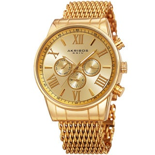 Akribos Men's Swiss Quartz Multifunction Gold-Tone Mesh Bracelet Watch