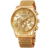 Akribos Men's Swiss Quartz Multifunction Gold-Tone Mesh Bracelet Watch
