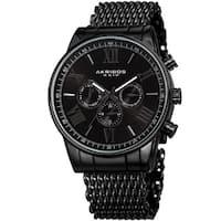 Akribos Men's Swiss Quartz Multifunction Black Mesh Bracelet Watch