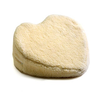 Hermell Products White Faux-shearling Heart-shaped Wedge Cushion
