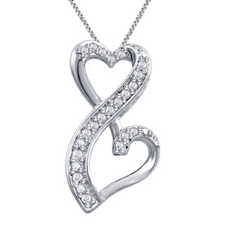 Divina Silver Overaly Diamond Accent Fashion Heart Necklace