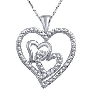 Divina Silver over Brass Diamond Accent Fashion 3-heart Necklace (I-J, I2-I3)