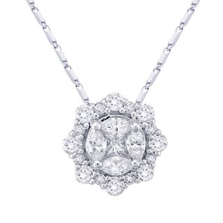 Beverly Hills Charm 14K White Gold 3/5ct. TDW Halo Diamond Round Necklace (H-I, SI2-I1)